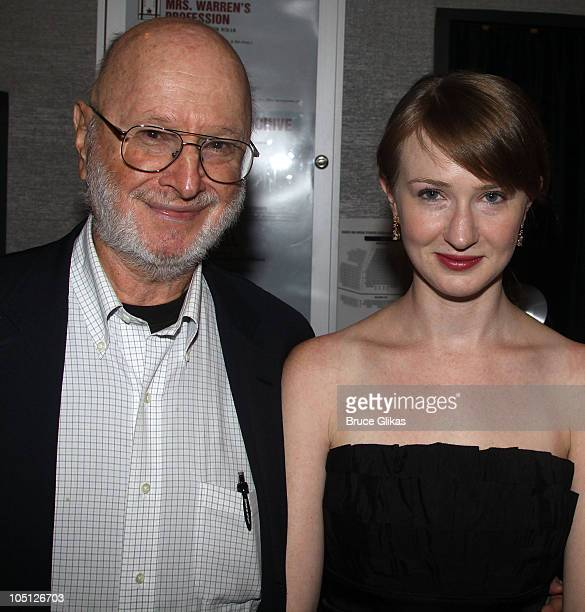 Jules Feiffer and daughter Halley Feiffer pose at the opening night Afterparty for 'Tigers Be Still' at HB Burger on October 6 2010 in New York City