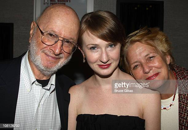 Jules Feiffer daughter Halley Feiffer and mother Jenny Allen pose at the opening night Afterparty for 'Tigers Be Still' at HB Burger on October 6...