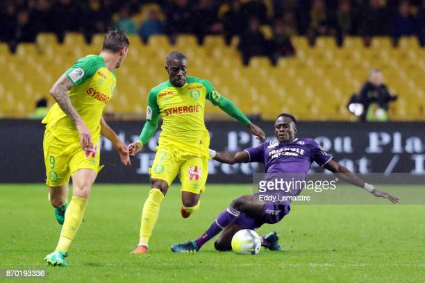 Jules Iloki of Nantes and Issiaga Sylla of Toulouse during the Ligue 1 match between Nantes and Toulouse at Stade de la Beaujoire on November 4 2017...