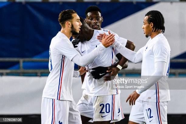 Jules Koundé of France celebrating his goal with his teammate Amine Gouiri of France during the UEFA Euro Under 21 Qualifier match between France U21...