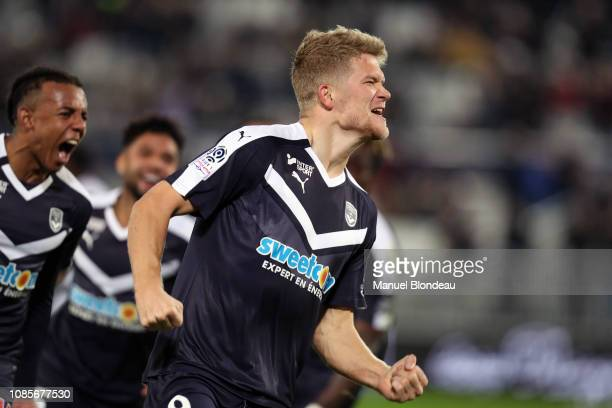 Jules Kounde of Bordeaux and Andreas Cornelius of Bordeaux celebrates after scoring a goal during the Ligue 1 match between Bordeaux and Dijon at...