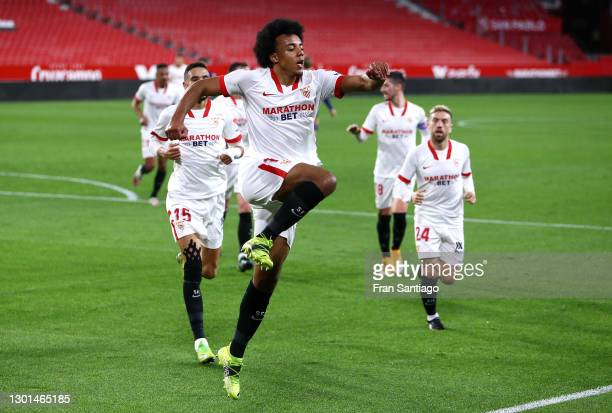 Jules Kounde of Sevilla celebrates after scoring their side's first goal during the Copa del Rey Semi Final First Leg match between Sevilla and FC...