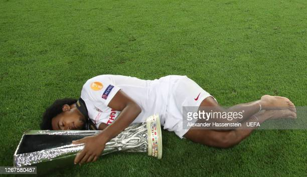 Jules Kounde of Sevilla FC celebrates victory with the UEFA Europa League Trophy following his team's victory in the UEFA Europa League Final between...