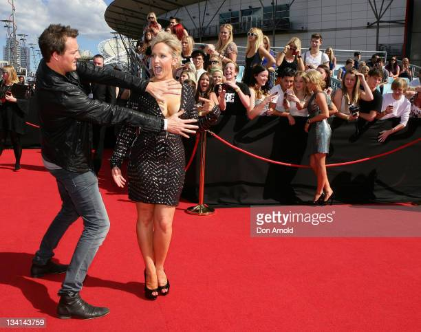 Jules Lund and Fifi Box arrive at the 2011 ARIA Awards at Allphones Arena on November 27 2011 in Sydney Australia