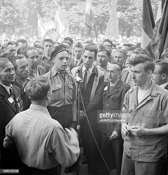 Jules Moch During The Commemorations Of June 18Th, 1940 Appeal: Demonstrations Of Communist Activists. Manif anti Jules Moch.