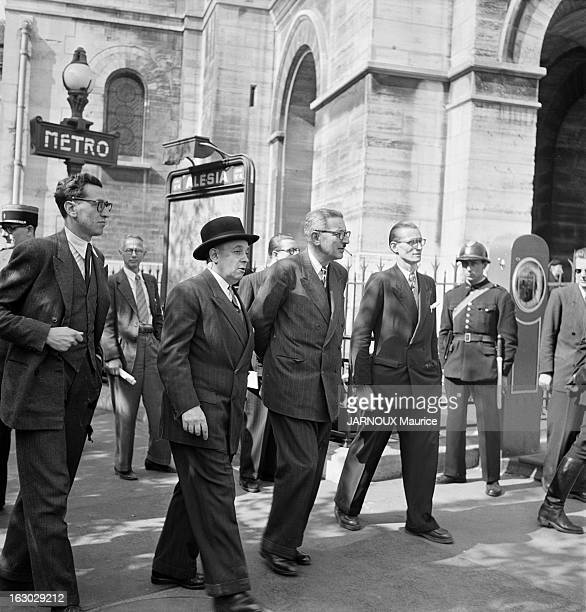 Jules Moch During The Commemorations Of June 18Th, 1940 Appeal: Demonstrations Of Communist Activists. Paris, 18 juin 1949 : les cérémonies...