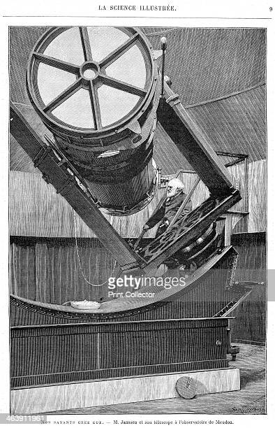 Jules Pierre Cesar Janssen French astronomer 1893 Janssen at the eyepiece of his reflecting telescope at Meudon Observatory France An accident at a...