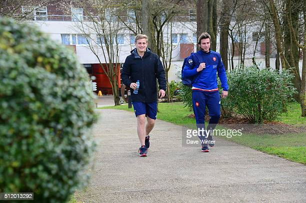 Jules PLISSON Maxime MEDARD of France during the Press Conference at the French Rugby Union team at Centre national de rugby ahead of their six...