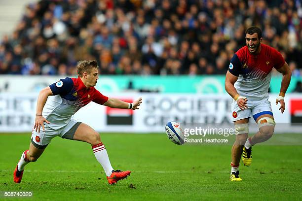 Jules Plisson of France drops the ball in front of Yoann Maestri of France during the RBS Six Nations match between France and Italy at Stade de...