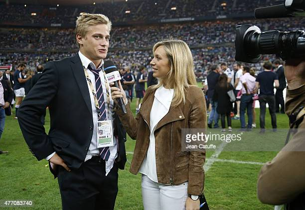 Jules Plisson of Stade Francais is interviewed by Clementine Sarlat of France 2 after the Top 14 Final between ASM Clermont Auvergne and Stade...