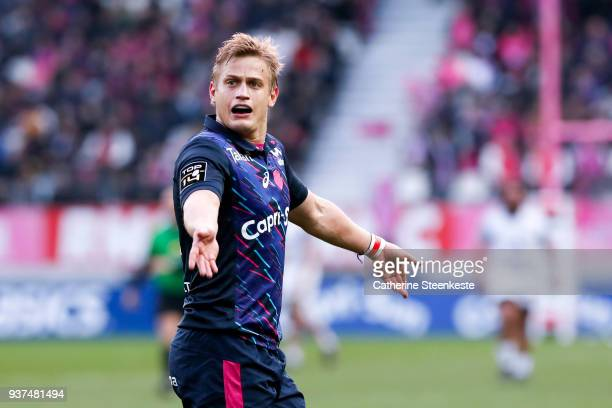 Jules Plisson of Stade Francais Paris reacts after a play during the Top 14 match between Stade Francais Paris and Stade Toulousain at Stade Jean...
