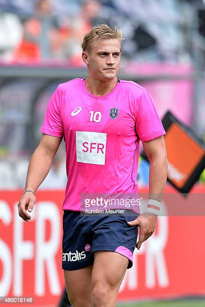 Jules Plisson of Stade Francais reacts during warmup before the Top 14 game between Stade Francais and Pau at Stade Jean Bouin on August 23, 2015 in...