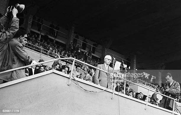 Jules Rimet President of the FIFA opening the 1954 FIFA World Cup