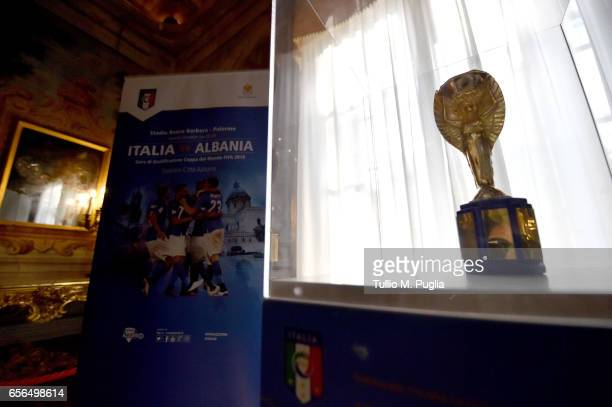 Jules Rimet Trophy 1934 is displayed during an exhibition of Italian Football Federation Trophies and Memorabilia at Villa Niscemi on March 22, 2017...