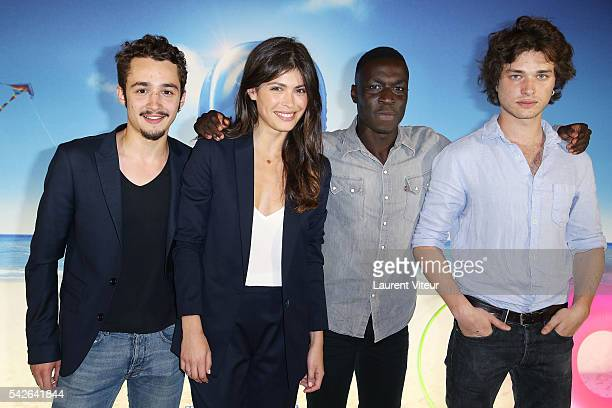 Jules Ritmanic Leslie Medina Cyril Mendy and Louka Meliava attend the 'Camping 3' Paris Premiere at Gaumont Champs Elysees on June 23 2016 in Paris...