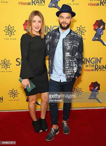 Jules Sebastian and Guy Sebastian arrive for opening night of Singin' In The Rain at Lyric Theatre Star City on July 9 2016 in Sydney Australia