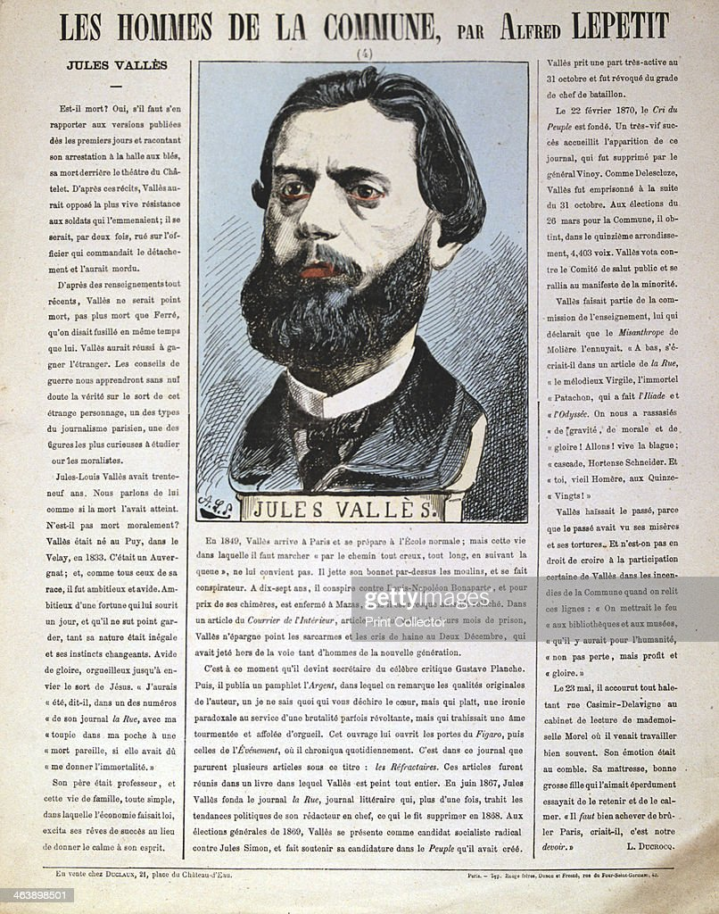Jules Valles, French journalist, author and member of the Paris Commune, 1871. Artist: Alfred Lepetit : News Photo