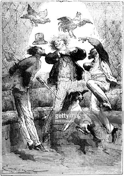 Jules Verne Autour de la Lune 1865 Occupants of the space capsule experiencing zero gravity conditions