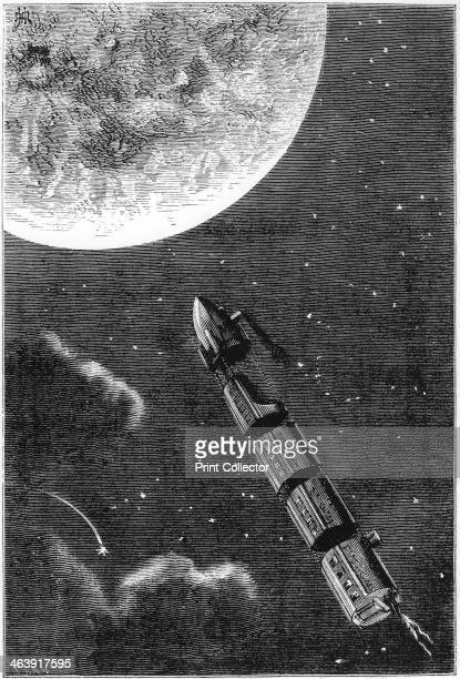 Jules Verne De la Terre a la Lune 1865 A train of space capsules on their way to the Moon