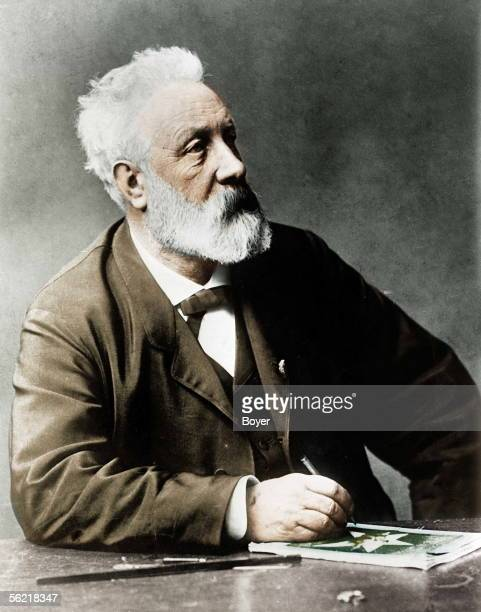 Jules Verne French writer Colourized photo