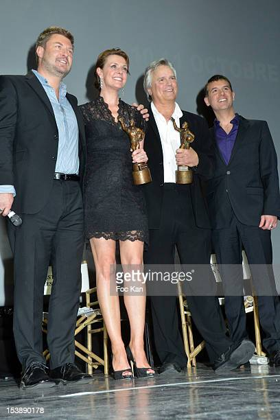 Jules Vernes Awards Organizer JeanChristophe Jeauffre Amanda Tapping Richard Dean Anderson and Jules Vernes Awards Organizer Frederic Dieudonne...