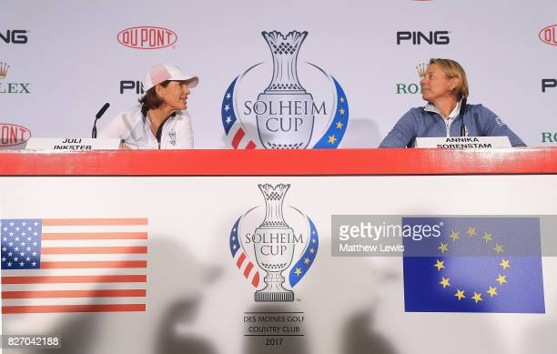 Juli Inkster Captain of the United States and Annika Sorenstam Captain of Europe pictured during the official Captain's Announcement of the teams for...