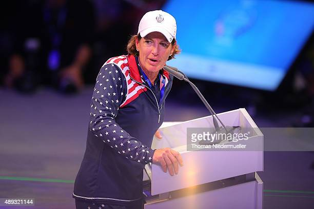 Juli Inkster captain of the Unitedt States Team talks during the closing ceremony at the 2015 Solheim Cup at St LeonRot Golf Club on September 20...