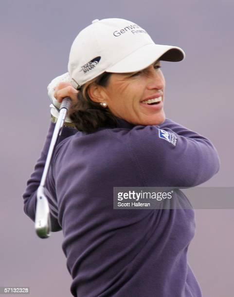 Juli Inkster hits her tee shot on the eighth hole during the final round of the Safeway International at the Superstition Mountain Golf and Country...