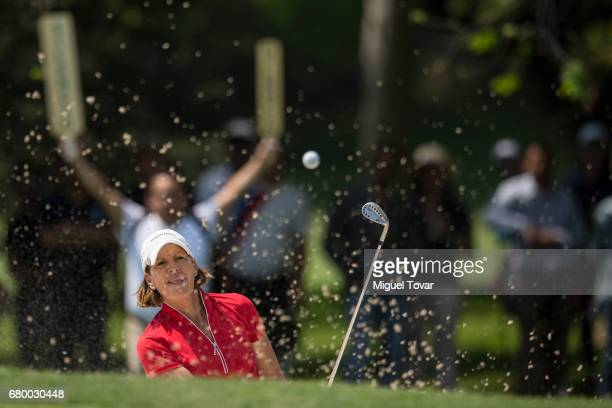 Juli Inkster of the United States plays a bunker shot during the final round of the Citibanamex Lorena Ochoa Match Play Presented by Aeromexico and...