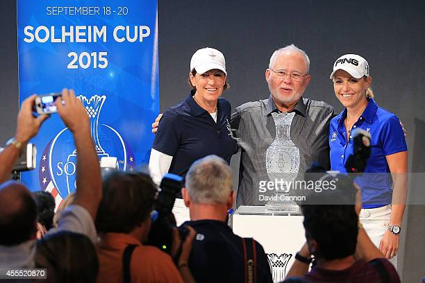 Juli Inkster of USA John Solheim of USA and Carin Koch of Sweden pose during the press conference during the Solheim Cup Charity Promotion Event Day...