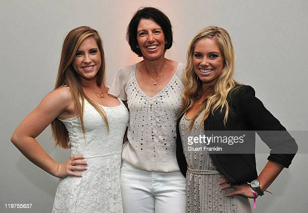 Juli Inkster of USA poses for a picture with her daughters Hayley Inkster and Cori Inkster at the gala dinner after the third round of the Evian...
