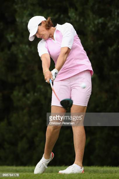 Juli Inkster plays a tee shot on the 15th hole during the third round of the US Senior Women's Open at Chicago Golf Club on July 14 2018 in Wheaton...