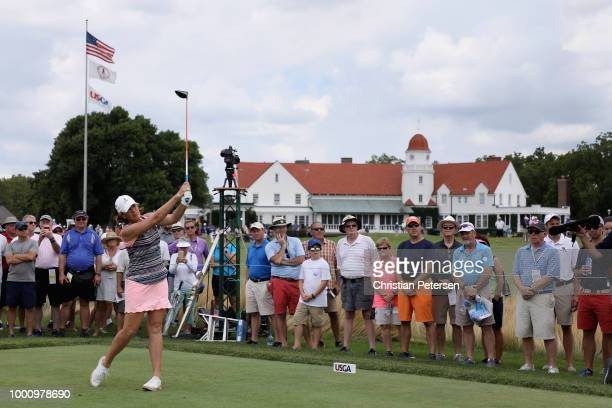 Juli Inkster plays a tee shot on the 16th hole during the final round of the US Senior Women's Open at Chicago Golf Club on July 15 2018 in Wheaton...