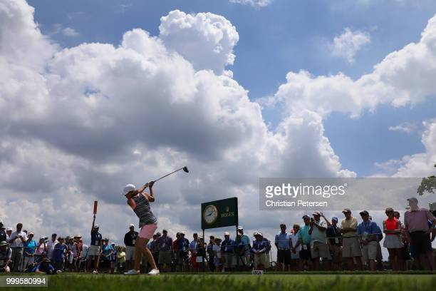 Juli Inkster plays a tee shot on the 18th hole during the final round of the US Senior Women's Open at Chicago Golf Club on July 15 2018 in Wheaton...
