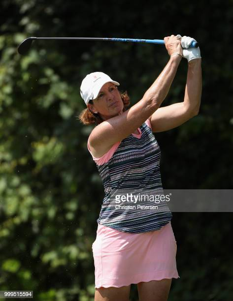 Juli Inkster plays a tee shot on the eighth hole during the final round of the US Senior Women's Open at Chicago Golf Club on July 15 2018 in Wheaton...