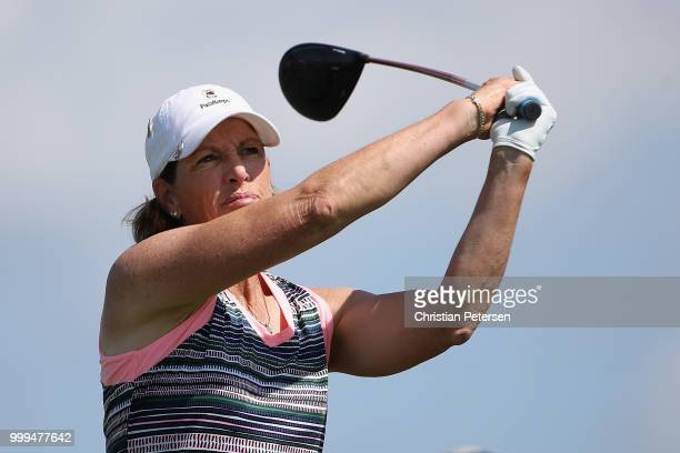 Juli Inkster plays a tee shot on the fourth hole during the final round of the US Senior Women's Open at Chicago Golf Club on July 15 2018 in Wheaton...