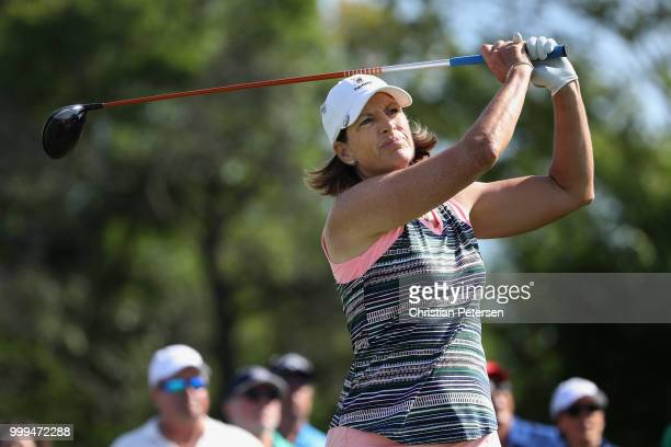 Juli Inkster plays a tee shot on the second hole during the final round of the US Senior Women's Open at Chicago Golf Club on July 15 2018 in Wheaton...