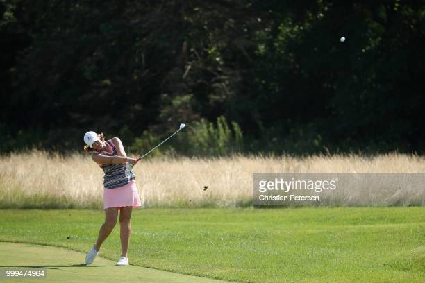Juli Inkster plays her fourth shot on the second hole during the final round of the US Senior Women's Open at Chicago Golf Club on July 15 2018 in...