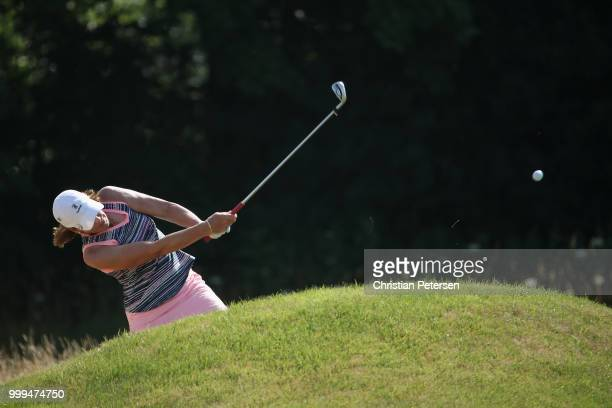 Juli Inkster plays her third shot on the second hole during the final round of the US Senior Women's Open at Chicago Golf Club on July 15 2018 in...