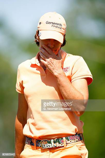 Juli Inkster reacts after a missed putt on the 13th hole during the final round of the SemGroup Championship presented by John Q Hammons on May 4...