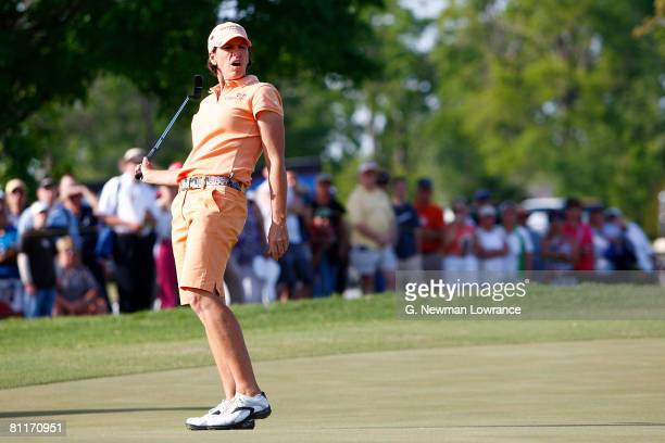 Juli Inkster reacts after missing a putt on the 2nd playoff hole during the final round of the SemGroup Championship presented by John Q Hammons on...