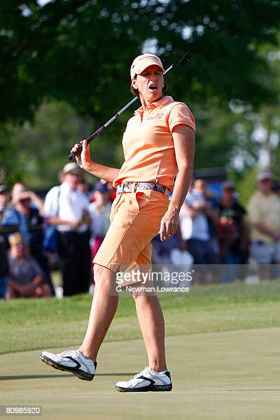 Juli Inkster reacts atfer missing a putt on the 2nd playoff hole during the final round of the SemGroup Championship presented by John Q Hammons on...