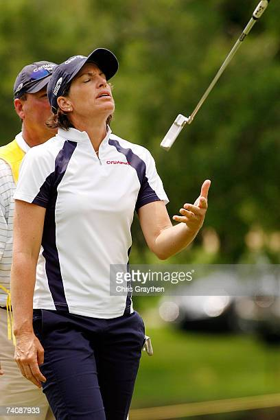 Juli Inkster reacts to a putt for bogey on the 17th hole during the final round of the SemGroup Championship presented by John Q Hammons on May 6...