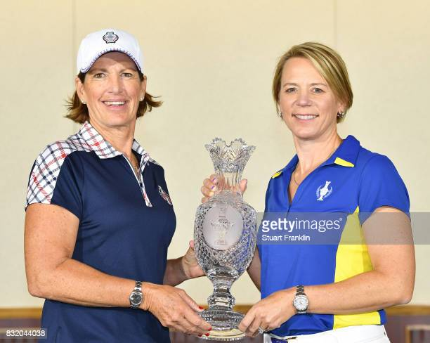 Juli Inkster Team USA Captain and Annika Sorenstam European Team Captain pose for a picture during the photocall prior to The Solheim Cup at the Des...