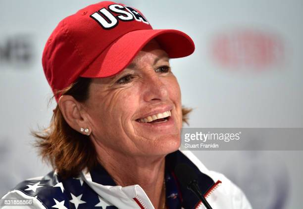 Juli Inkster Team USA Captain talks to the media during a press conference for The Solheim Cup at the Des Moines Country Club on August 15 2017 in...
