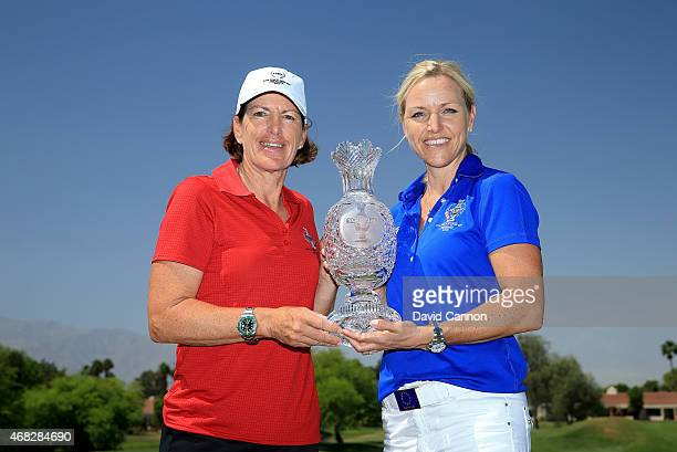 Juli Inkster the United States and Carin Koch of Sweden the two captains for the 2015 Solheim Cup to be held at The Golf Club StLeonRot in Germany in...