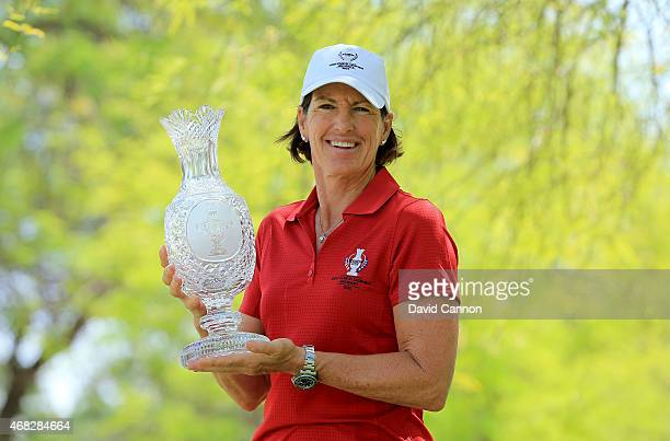 Juli Inkster the United States Team Captain for the 2015 Solheim Cup to be held at The Golf Club StLeonRot in Germany in September poses with the...
