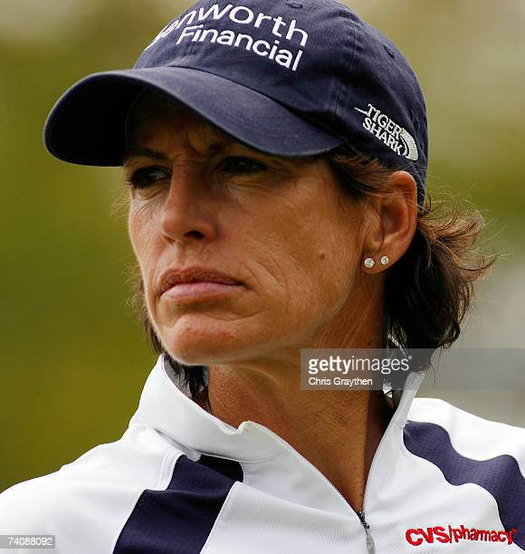 Juli Inkster walks down the fairway on the 18th hole during the final round of the SemGroup Championship presented by John Q Hammons on May 6 2007 at...
