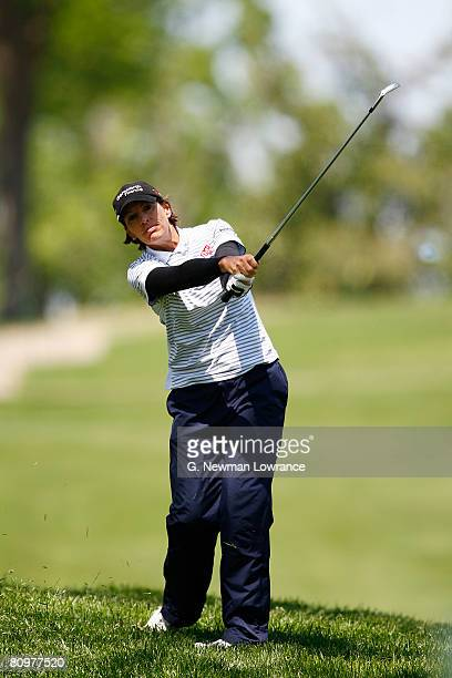 Juli Inkster watches an approach shot on the 8th hole during the third round of the SemGroup Championship presented by John Q Hammons on May 3 2008...
