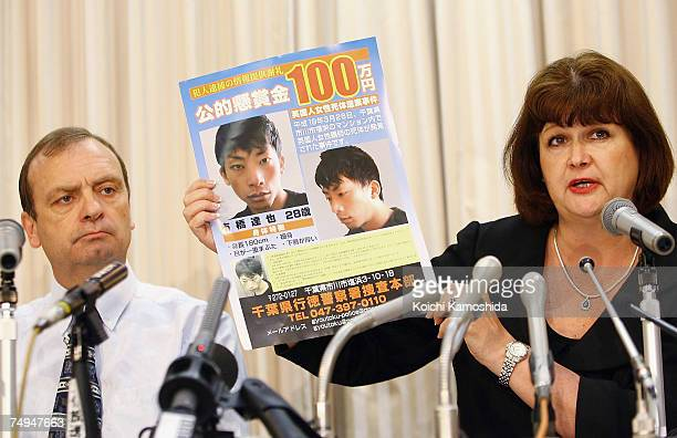 Julia and Bill Hawker display a poster asking for information about Tatsuya Ichihashi the primary suspect in the murder of their daughter English...